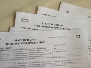 ハワイ州GET Tax申請書 。 記入して20ドルを支払って納税者番号を取得します。
