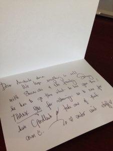 ハワイで入院:小児科から手書きのメッセージカードが届きました。カード代も請求額に入っているのでしょうか?笑